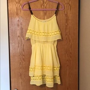 yellow sundress with leather adjustable straps